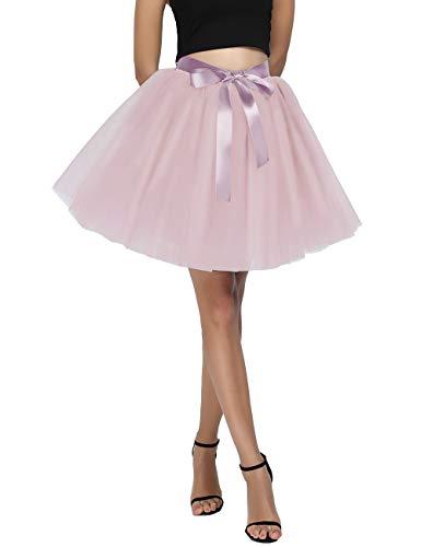 Women's High Waist Princess Tulle Skirt Adult Dance Petticoat A-line Short Wedding Party Tutu Dusty Pink]()
