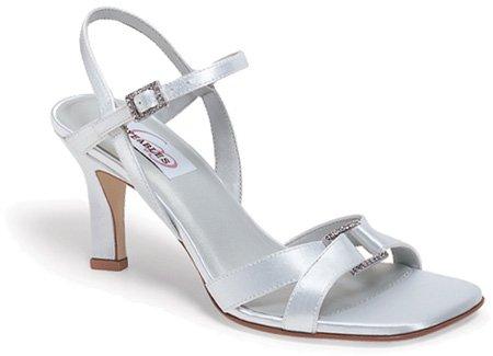 Dyeables Femmes Majesté Strass Chaussures Blanc Satin
