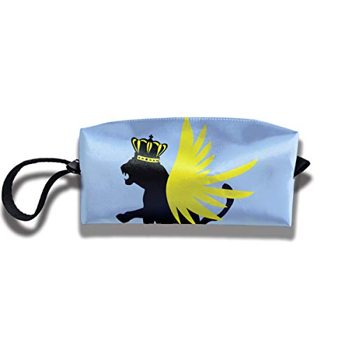 - Panther With Crown And Wings Travel Makeup Bag Cosmetic Portable Zipper