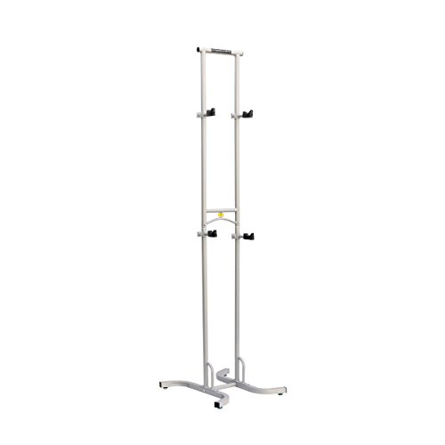 SPAREHAND Freestanding Adjustable Dual Bike Rack Storage System, Max Weight Limit 80 lbs, Pebble Silver Finish
