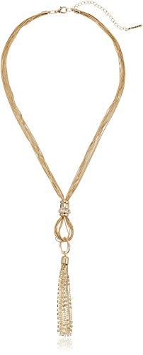 Multi Strand Snake - T Tahari Multi-Strand Snake Chain Gold Tassel Y-Shaped Necklace, 22