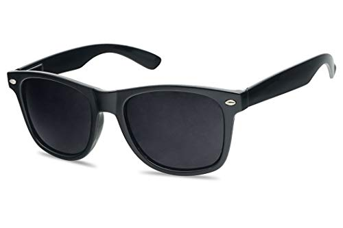 Super Black Classic 80's Square Retro Horn Rimmed Style Hipster Sunglasses (Black (Glossy), Dark Black)