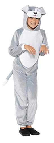 Hooded Dog Jumpsuit - Smiffy's Children's Dog Costume with Hooded Jumpsuit (Large, Grey)