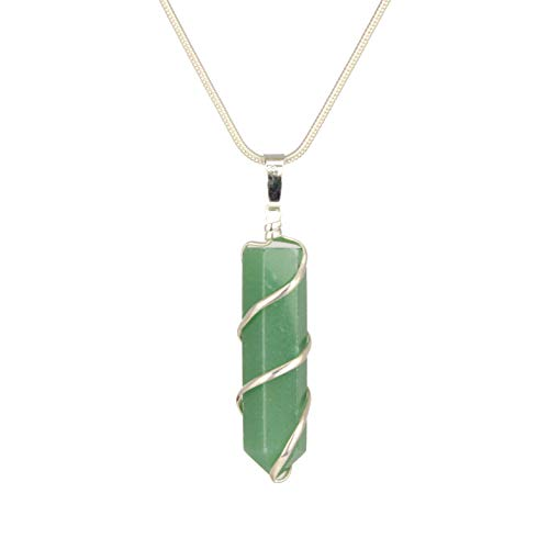 - ~ Buy 2 Get 1 FREE ~ Genuine Premium Quality Healing Wrapped Coil Gemstone Point Pendant Necklace - Amazonite, Amethyst, Carnelian, Quartz, Green Aventurine, Rose quartz, Tiger eye (Green aventurine)