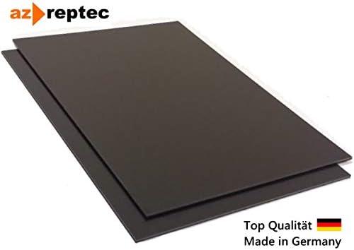 Placa de plástico ABS 2mm Negro 300x200mm (30x20cm) Acrilonitrilo Butadieno Estireno - Hecho en Alemania - Película protectora de una cara - Top Calidad!