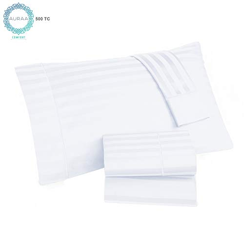 GHCL AURAA Comfort Luxury 500 Thread Count Pima Blend Long Staple Cotton Stripe Sheet Set White ()