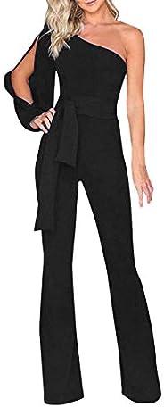 Thenxin Elegant Party Jumpsuit for Women One Shoulder Solid Color High Waist Belt Long Playsuits