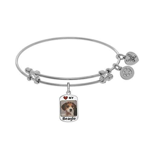 Tiffany Engraved Round Tag - JewelryWeb Brass with White Finish 1.5mm Shiny Round Tube Expandable Dog Tag-Beagle Bangle Bracelet