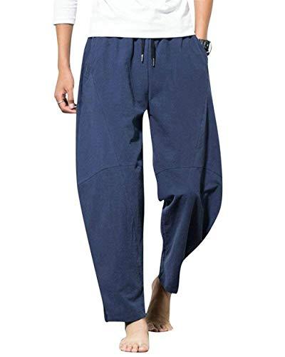 Hombres Summer Harem Imitación Pants Los Cáñamo Navy 2018 Blau Sueltos Sol Sólido Drawstring Youth Fashion Pantalones De New Leisure 4dZwq7