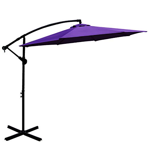 Cheap ABCCANOPY 10 FT Hanging Umbrella Cantilever Umbrella Offset Patio Umbrella Outdoor Market Umbrella Easy Open Lift 360 Degree Rotation (Purple)