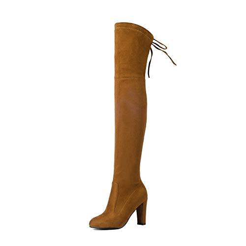 HOESCZS HOESCZS HOESCZS 2019 Frauen Overknee-Stiefel PU Leder Platz High Heel Damen Schuhe Winter warme Motorradstiefel Größe 34-43 4f505a