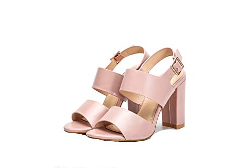 Mila Lady Comfortable Double Leather Strappy Block Chunky Open Toe Ankle Strap High Heeled Sandals, Maud Pink 7.5