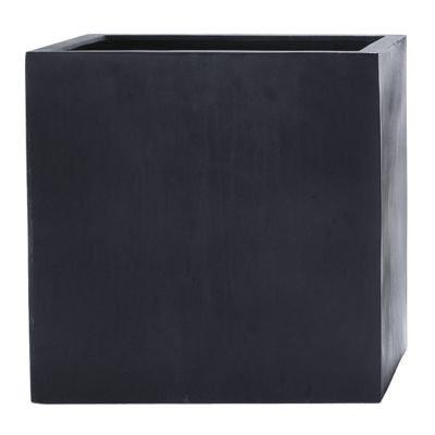 Stonefiber Pot kubisch L schwarz (42 x 42 cm, h 42 cm)