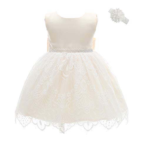 Moon Kitty Baby Girls Baptism Dresses Christening Special Occasions Gown for Baby Girl with Beautiful Belt ()