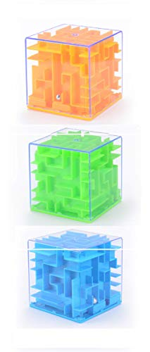 (Silfrae 3D Maze Ball Magic Cube Puzzle Box Space Training Imagination Education for Kids and Adults (Square-3in1)
