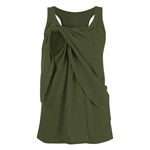 Toponly Women's Maternity Nursing Tank Tops Double Layers Soft Comfy Breastfeeding Pregnant Cami Shirts S-XXL Army Green