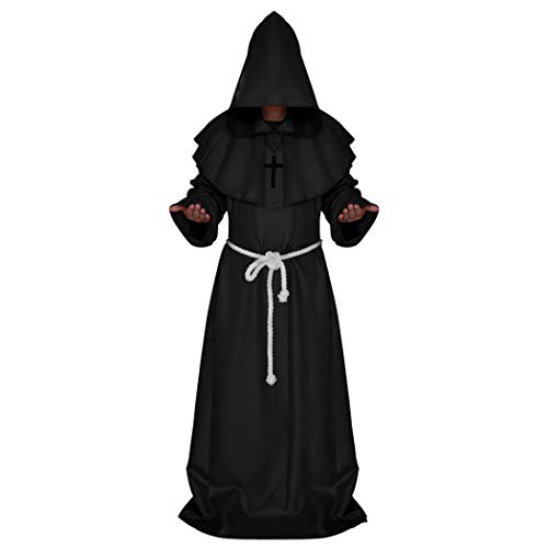 Medieval Priest Monk Robe Halloween Cosplay Costume Hooded Cap Cloak (L, Black) -