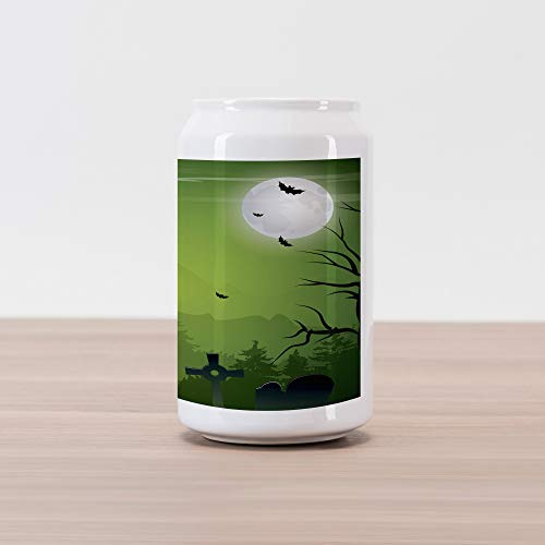 Lunarable Halloween Cola Can Shape Piggy Bank, Tombstones Cemetery Full Moon and Bats on Green Toned Backdrop, Ceramic Cola Shaped Coin Box Money Bank for Cash Saving, Lime Green Charcoal Grey Grey]()