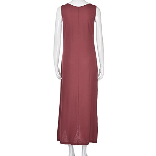 zahuihuiM Frauen Fashion Sommer Maxi Kleid Rundhals Sleeveless Off ...