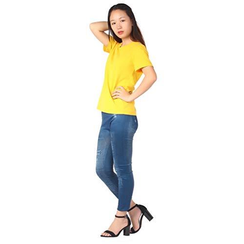 Newin Pantalon Taille Coton Vêtements Satr Peinture Femmes Mince Legging Déchiré Denim Libre Mode Jean Faux rfrn7wqW