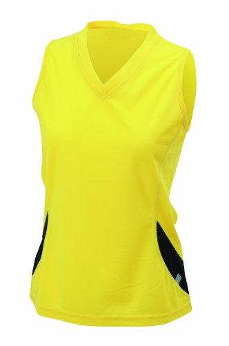 James & Nicholson - Camiseta de running para mujer Amarillo / Negro