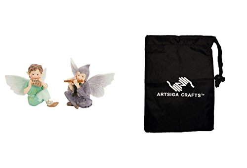 Darice DIY Crafts Supplies Fairy Garden Miniatures Statue Fairy w/Flutes Resin 3 x 2.5 inches 1 Piece (12 Pack) 30023569 Bundle with 1 Artsiga Crafts Small Bag