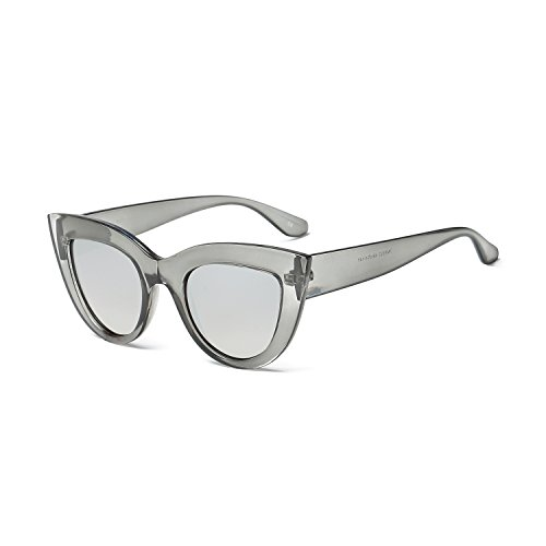 TIANYESY Super Cute Vintage Inspired Fashion Mod Chic High Pointed Cat Eye Sunglasses (Transparent Gray | (Gray Cats Eye)
