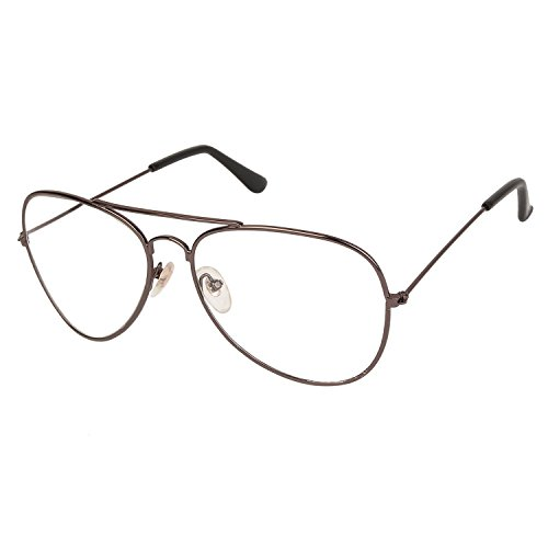 Arzonai Unisex Stylum Aviator Shape Transparent UV Protection Metal Sunglasses for Men and women (Black)