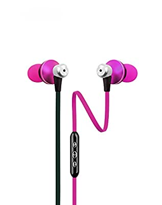 TMUSIC 3.5mm High Performance Stereo Earbuds with Microphone and Universal 3-Button Control For Apple iPhone 6 / 6 Plus / 5 / 5S /5C, HTC One (E8), One (M8), Samsung Galaxy S5 Android Smartphone(Hot pink)