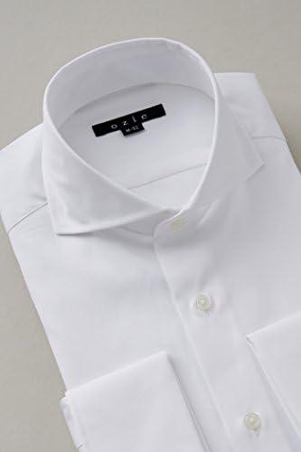 【ワイシャツ・カッターシャツ】タイトフィット・ダブルカフス・プレミアムコットン・形態安定・ホリゾンタルカラー