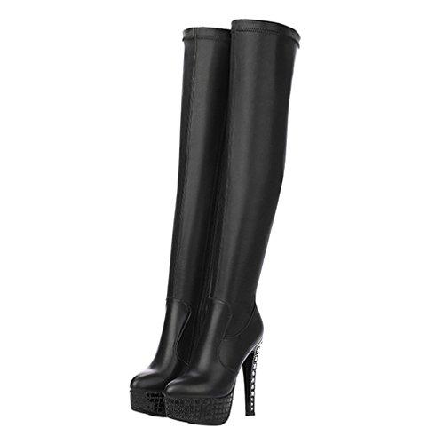 ENMAYER Frauen Vollkorn Leder High Heels Over-the-Knie-Plattform Zip Strass Stiefel Schwarz