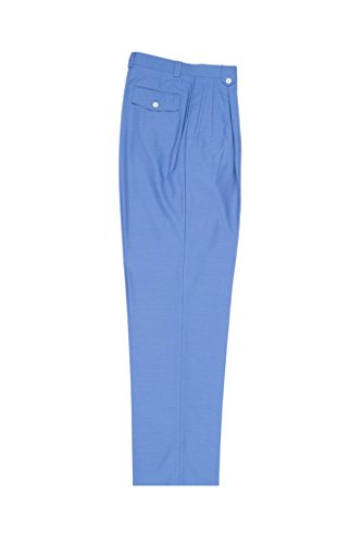 Leg Wide Pants Wool (Tiglio Luxe Medium Blue Wide Leg, Pure Wool Dress Pants 2576)