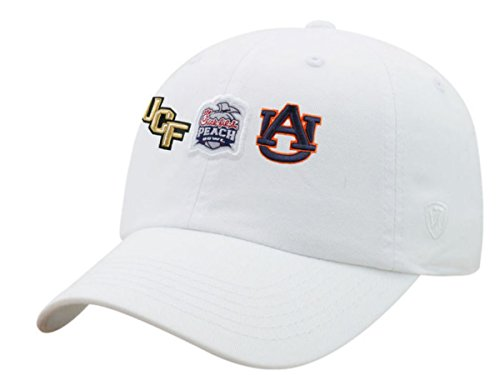 Top of the World UCF Knights Auburn Tigers 2018 Chick-Fil-A Peach Bowl White Adj Slouch Hat Cap
