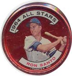 1964 Topps Metal Coins (Baseball) Card# 146 Ron Santo of the Chicago Cubs Ex Condition
