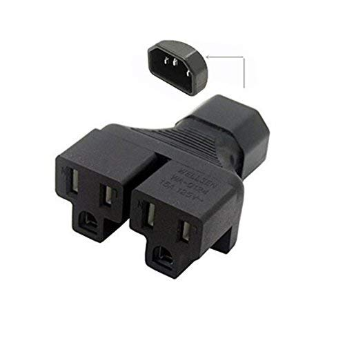 Duttek IEC 320 C14 to 2 C13 Y Splitter Power Adapter Connector Converter,NEMA 5-15R 2 in 1,C14 to 2 5-15R,3 Pin Male to 2x3 Pin Female