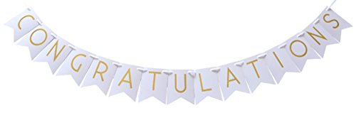 Congratulations Gold Foil Party Banner - Shimmering Gold Letters on White Cardstock