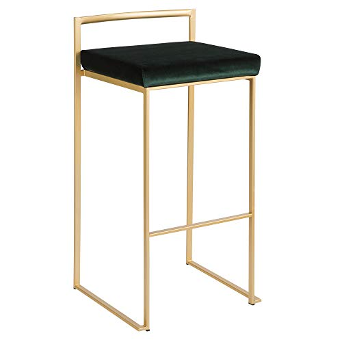 LumiSource Stackable Barstool in Gold and Green Finish - Set of 2
