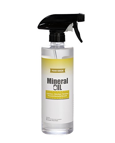 Premium 100% Pure Food Grade Mineral Oil USP, 16oz Spray Bottle, NSF Approved, Butcher Block and Cutting Board Oil by Sanco Industries