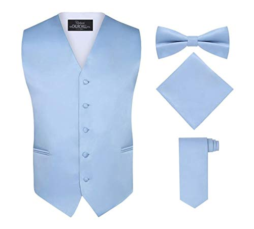 S.H. Churchill & Co. Men's 4 Piece Vest Set, with Bow Tie, Neck Tie & Pocket Hankie - Light Blue, S ()
