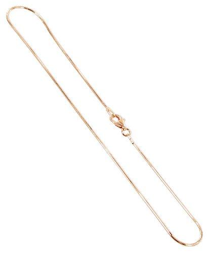 Gem Avenue 14k Rose Gold over Sterling Silver Vermeil Snake Chain 1mm Bracelet (7
