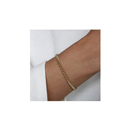 (Mevecco Gold Link Chain Bracelet,14K Gold Plated Cute Dainty Boho Curb Stacking Link Chain Minimalist Simple Fashion Bracelet for Women)