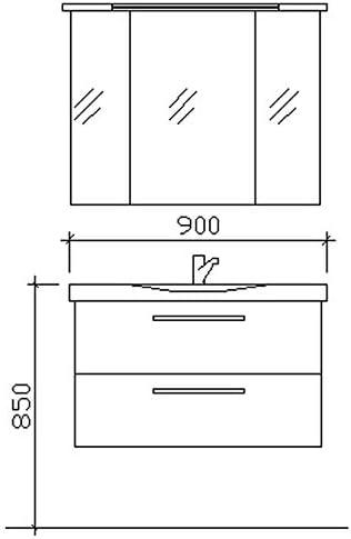 Pelipal Tren Tino 920 – Set de Muebles de baño (92 cm)/cerámica ...