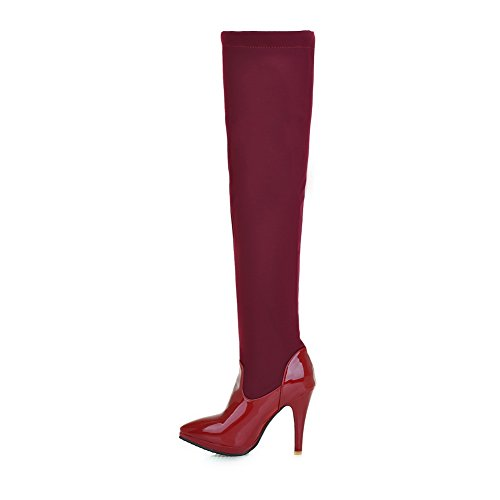 On Pull A Stiletto Girls amp;N Pinker Boots Winkle Red Leather Imitated pwYqpH