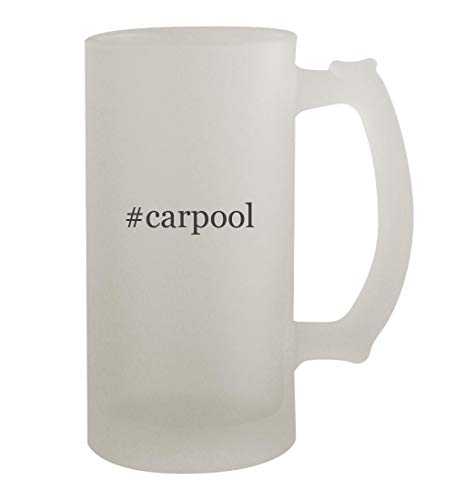 #carpool - 16oz Hashtag Frosted Beer Mug Stein, Frosted (Feel Safe At Night Sleep With A Marine)