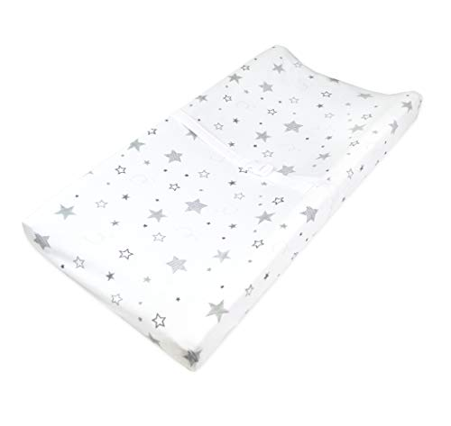 TL Care Printed 100% Natural Cotton Jersey Knit Fitted Contoured Changing Table Pad Cover, Super Stars, Soft Breathable, for Boys & Girls