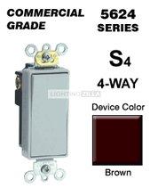 Leviton 56242 20 Amp 4Way Decora Rocker Switch Commercial Brown