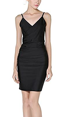 Women Sexy Slim V Collar Spaghetti Strap Backless Cocktail Evening Party Dress