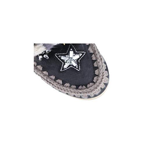 Eskimo Bottines Noire Mou Mouton Fourrure En Et Vison Mink Stars amp; Peau Noir Modèle De Sneakers fApRwnEp