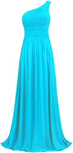 Chiffon Long Gown - ANTS Women's Pleat Chiffon One Shoulder Bridesmaid Dresses Long Evening Gown Size 12 US Turquoise