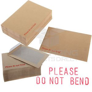 HARD BOARD BACK BACKED /'PLEASE DO NOT BEND/' ENVELOPES MANILLA BROWN BLAKE